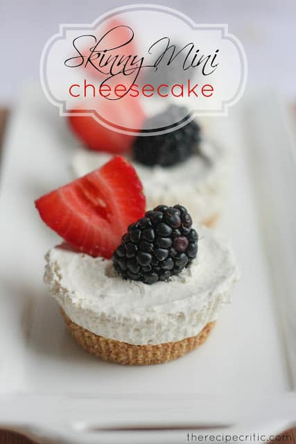 Skinny Mini Cheesecake on a white rectangular plate.