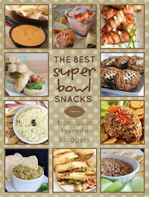 A collage of the best super bowl snacks. Queso dip, cookies
