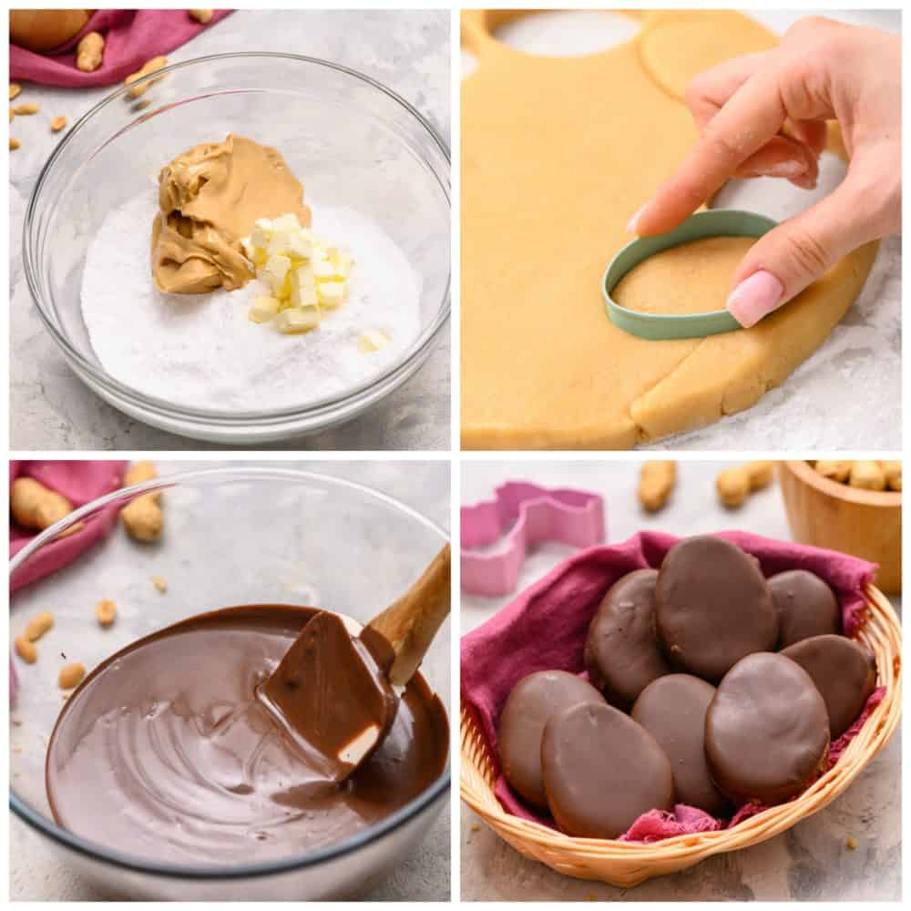 The process of mixing the sugar, butter and peanut butter mixture in a glass bowl then rolled out and cut into egg shapes using a cookie cutter. The bottom lefthand photo is a melted chocolate with a spatula and the bottom righthand photo is a basket full of Reese's eggs.