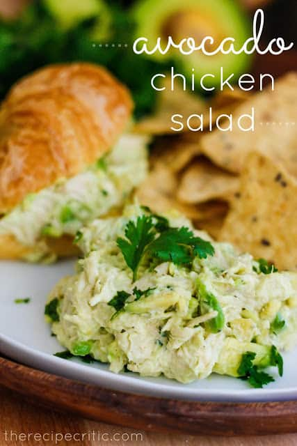Avocado Chicken Salad on a white plate.
