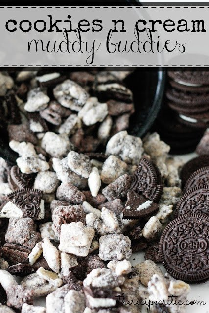 Cookies n cream muddy buddies mixed in with oreos.