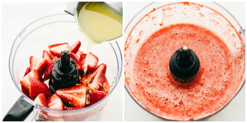 Fresh strawberries sliced into a blender adding in lemon juice and another photo next to it with it blended together.