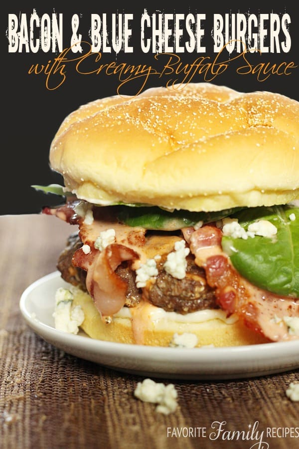 Bacon & Blue Cheese Burgers with Creamy Buffalo Sauce