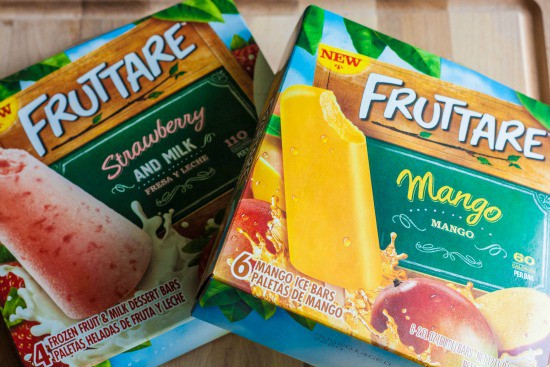 2 boxes of Fruttare ice bars, one strawberry and milk and one mango.
