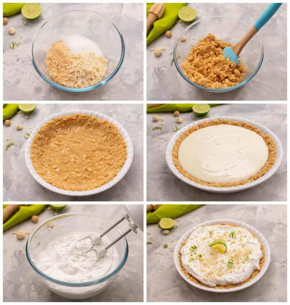 Steps showing how to make Key lime Pie