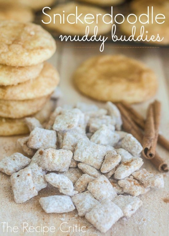 Snickerdoodle muddy buddies in a pile beside snickerdoodle cookies and cinnamon sticks.