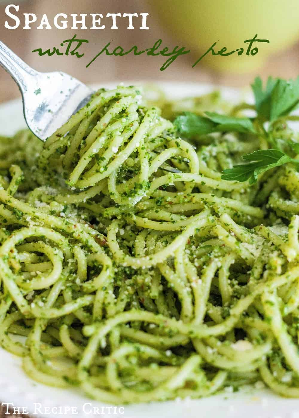 Spaghetti with Parsley Pesto | The Recipe Critic