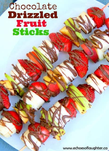 Chocolate Drizzled Fruit Sticks