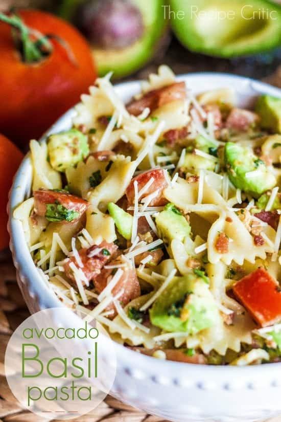 Avocado pasta in a white bowl.