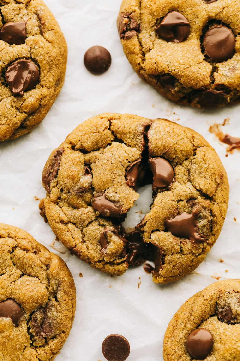 Browned butter chocolate chip cookies, chewy, thick and incredible.