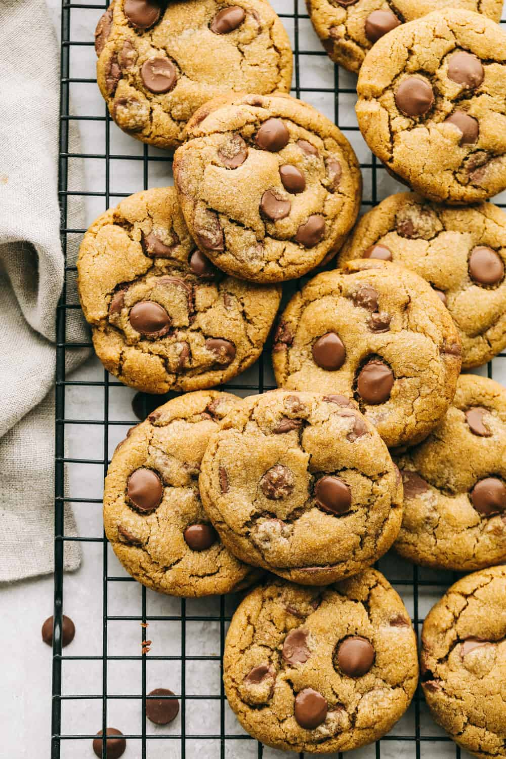 Browned butter chocolate chip cookies are thick, chewy and amazing.