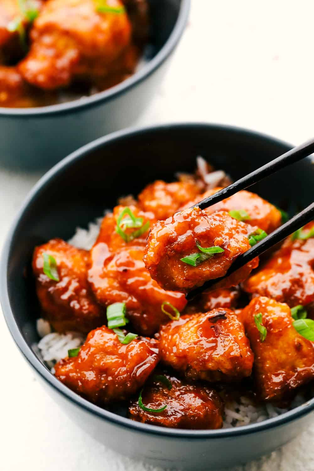 Sweet and Spicy perfect homemade Firecracker Chicken over rice.