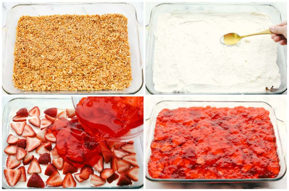 Steps to making strawberry pretzel salad.