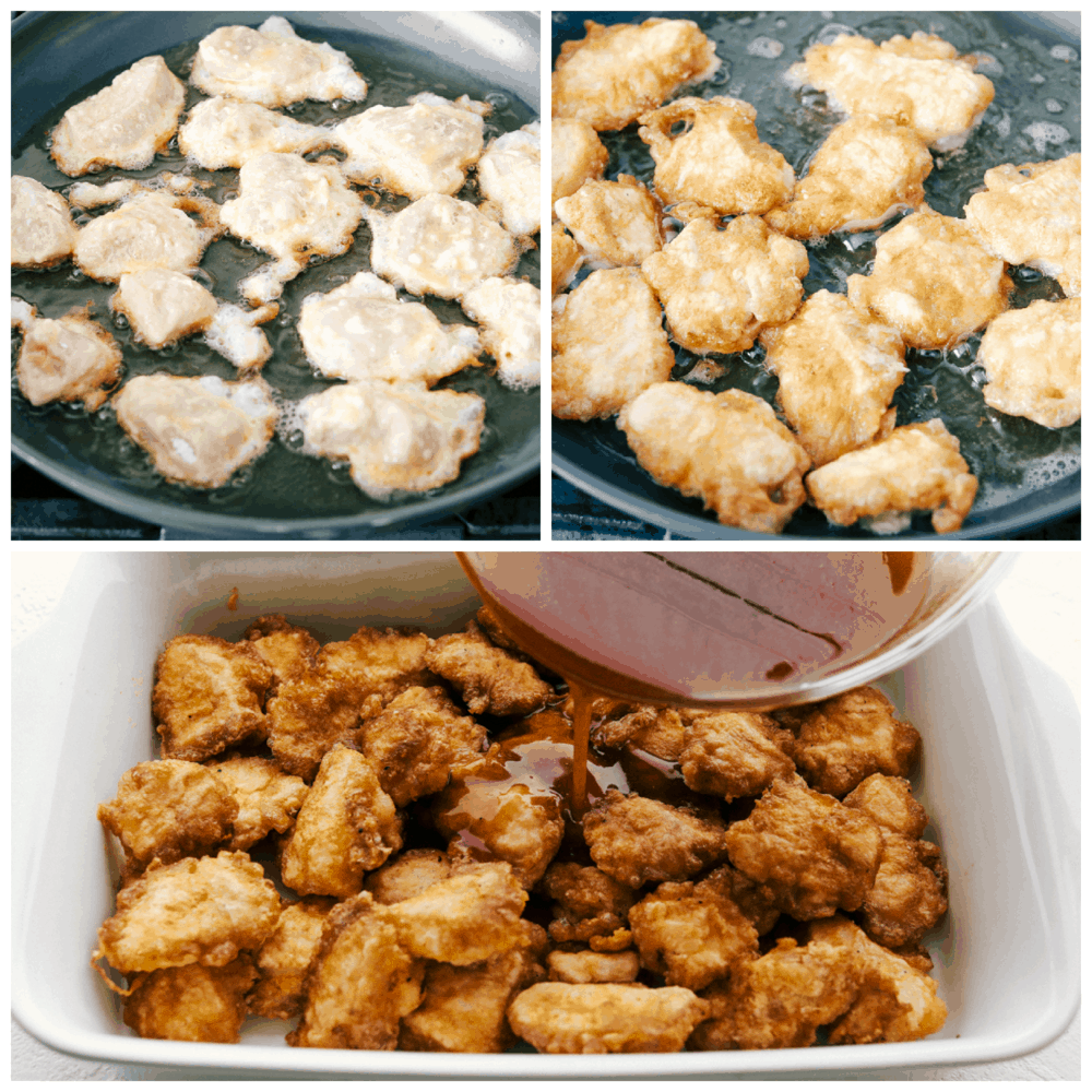 Frying the coating on Baked Sweet and Sour Chicken.