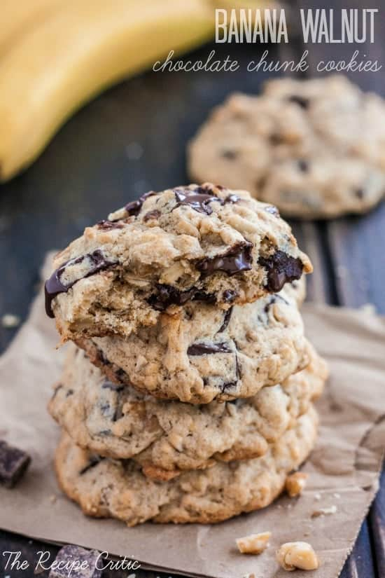 Stack of banana walnut chocolate chunk cookies.