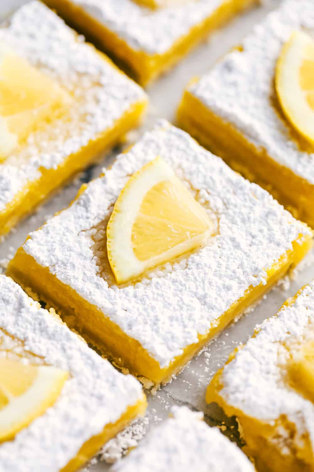 Close up of lemon bars.