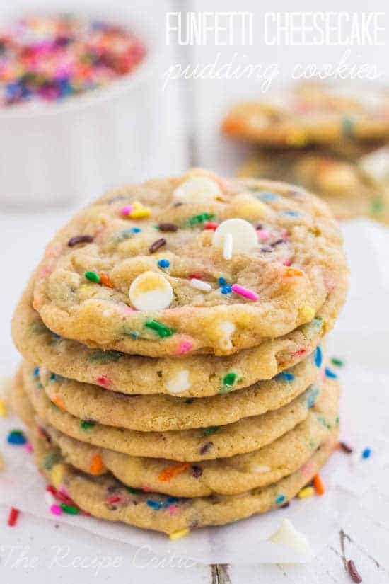 Funfetti cheesecake cookie stack on a white plate.