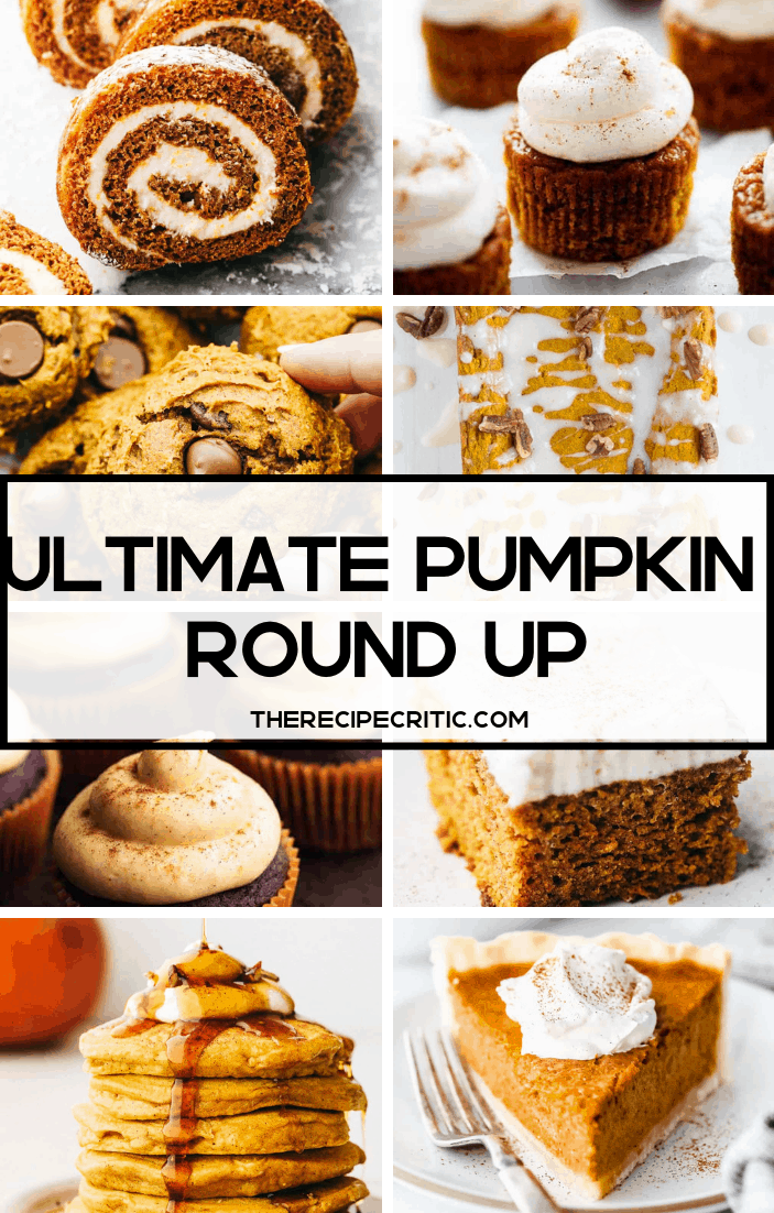 A collage of photos of pumpkin recipes with the ultimate pumpkin round up title over top.