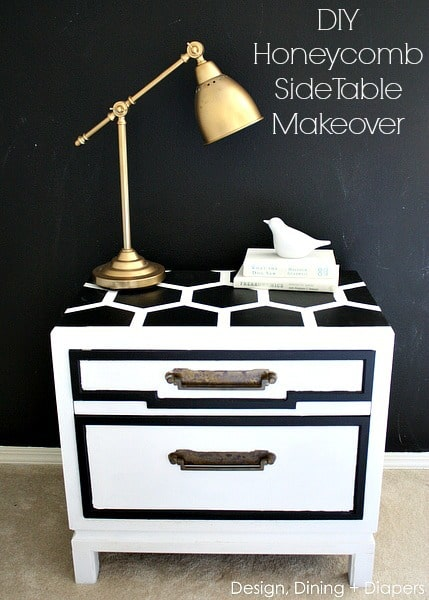 DIY Honeycomb Side Table Makeover by Design, Dining, and Diapers