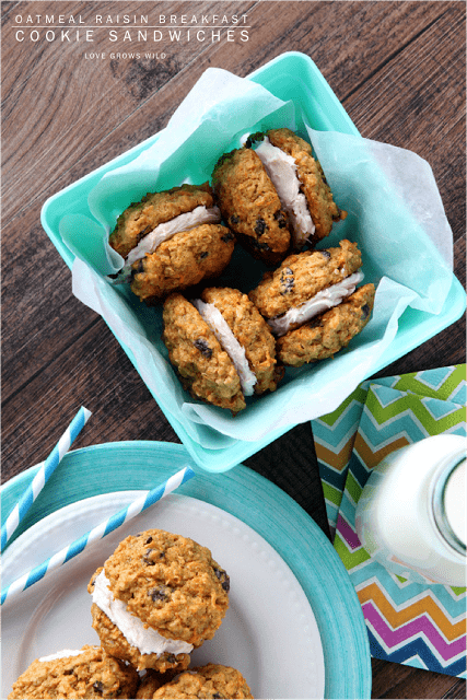 Oatmeal Raisin Breakfast Cookie Sandwiches by Love Grows Wild for The Recipe Critic