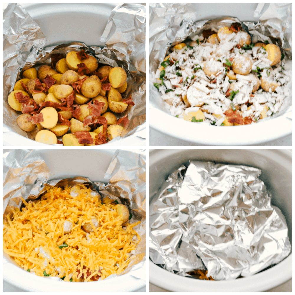 Photos of the process of making slow cooker cheesy bacon ranch potatoes.