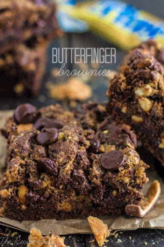 Butterfinger brownie squares.