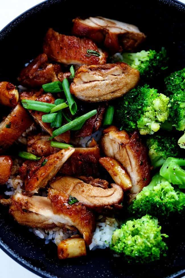Caramel chicken with broccoli in a skillet.