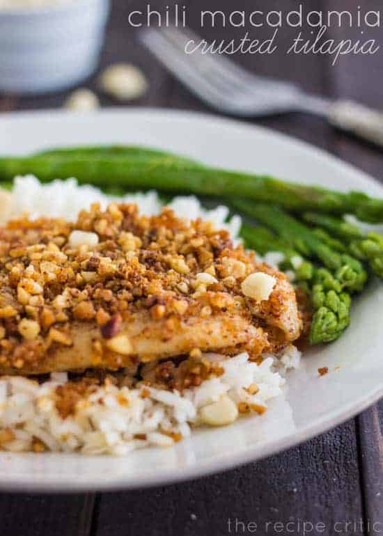 Crusted tilapia with rice and asparagus on a white plate.