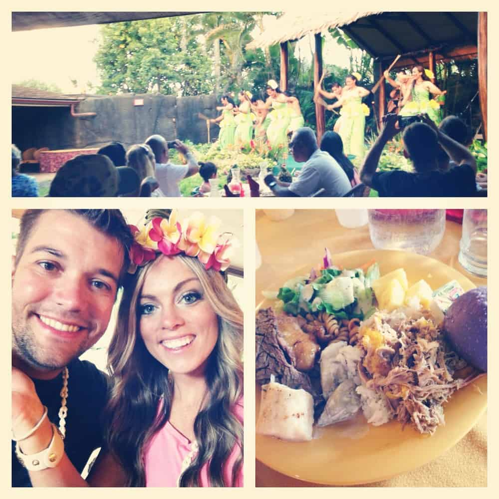 Pic collage of a Luau in Hawaii, dancing, smiling, great food!
