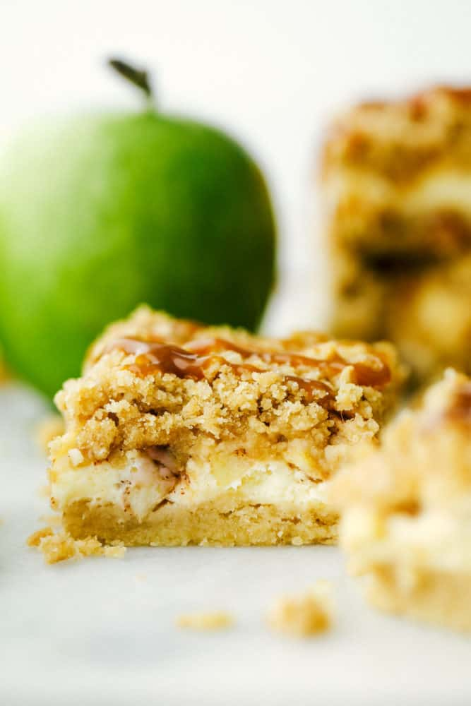 A caramel apple cheesecake bar.