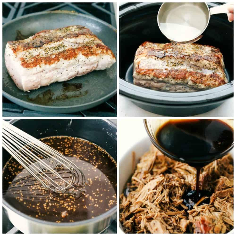 The process of cooking pork and slow cooking it.
