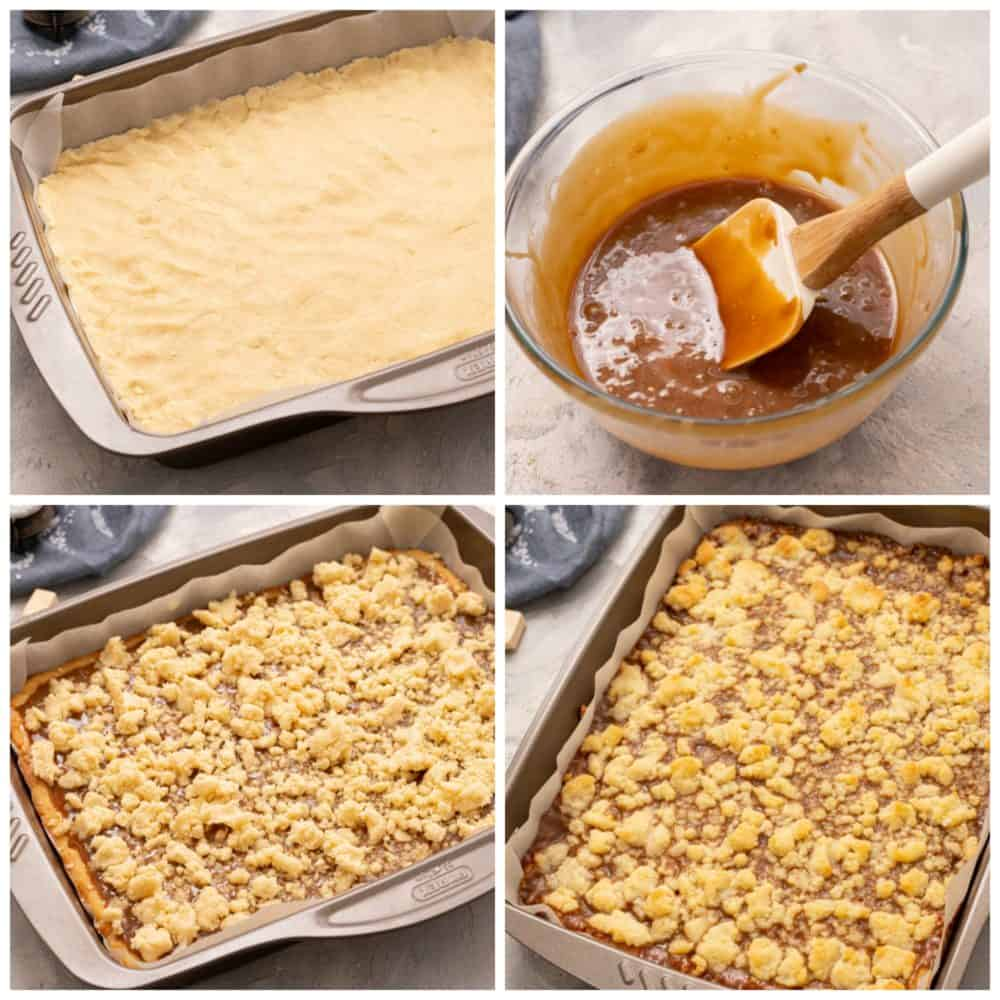 Steps to make salted caramel bars.