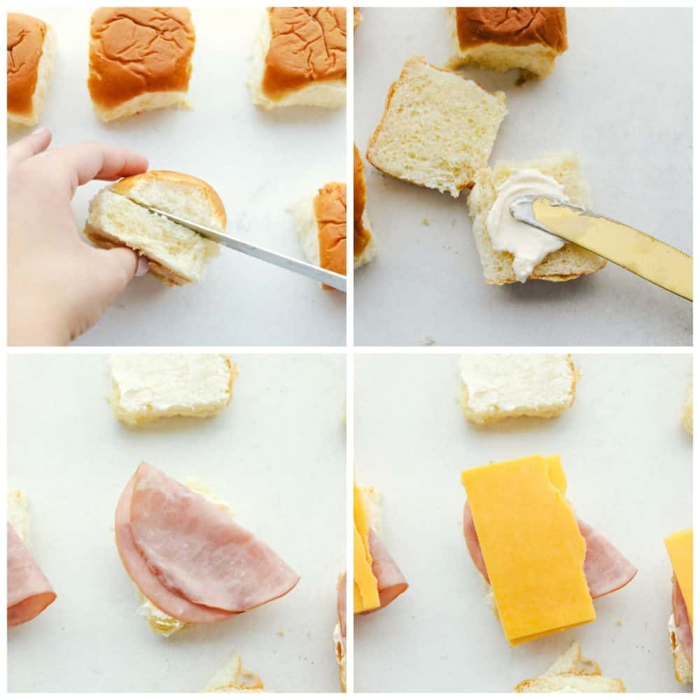 Steps to make ham and cheddar sliders.