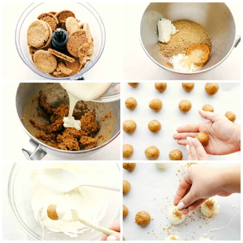 Making pumpkin cream cheese truffles with gingersnaps and graham crackers.