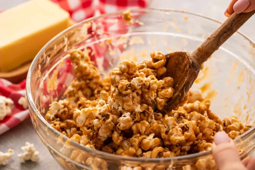 Amazing salted caramel popcorn in bowl