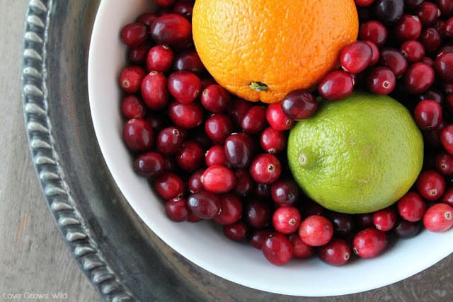 Cranberries in a large white bowl with an orange and lime.