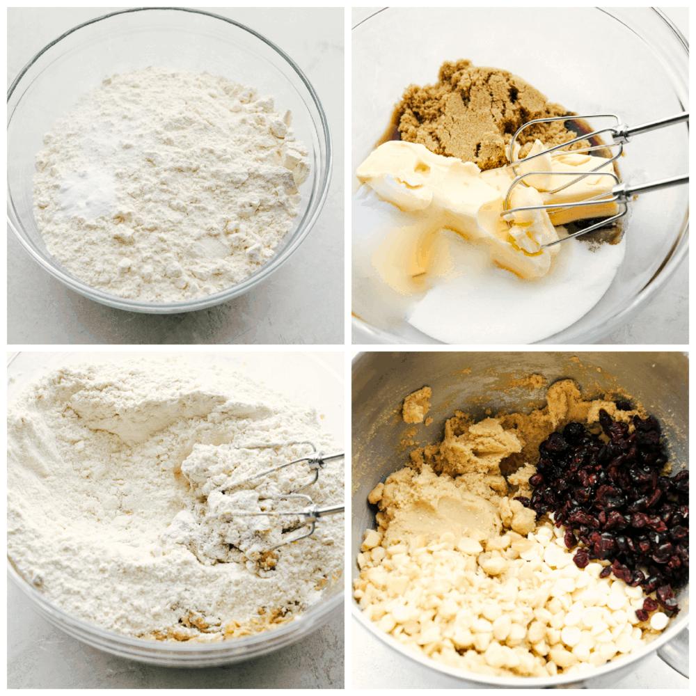 Los ingredientes y mezcla de galletas de chocolate blanco, arándanos y macadamia.
