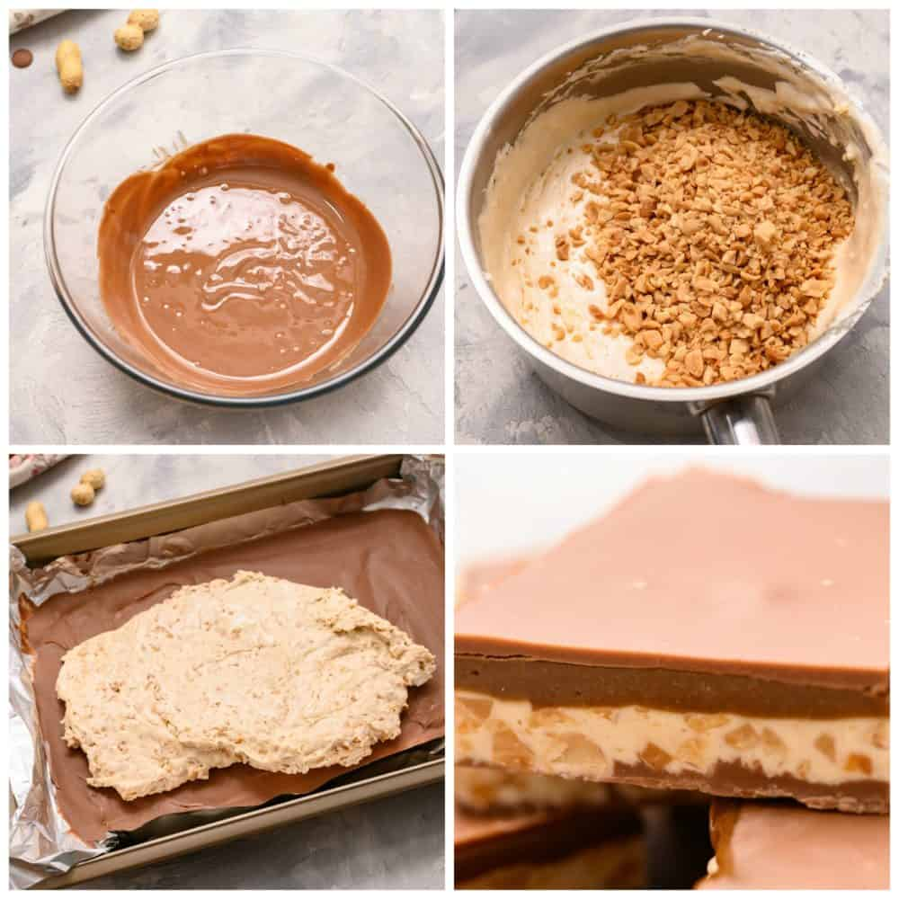 The steps to making a homemade snickers bar.