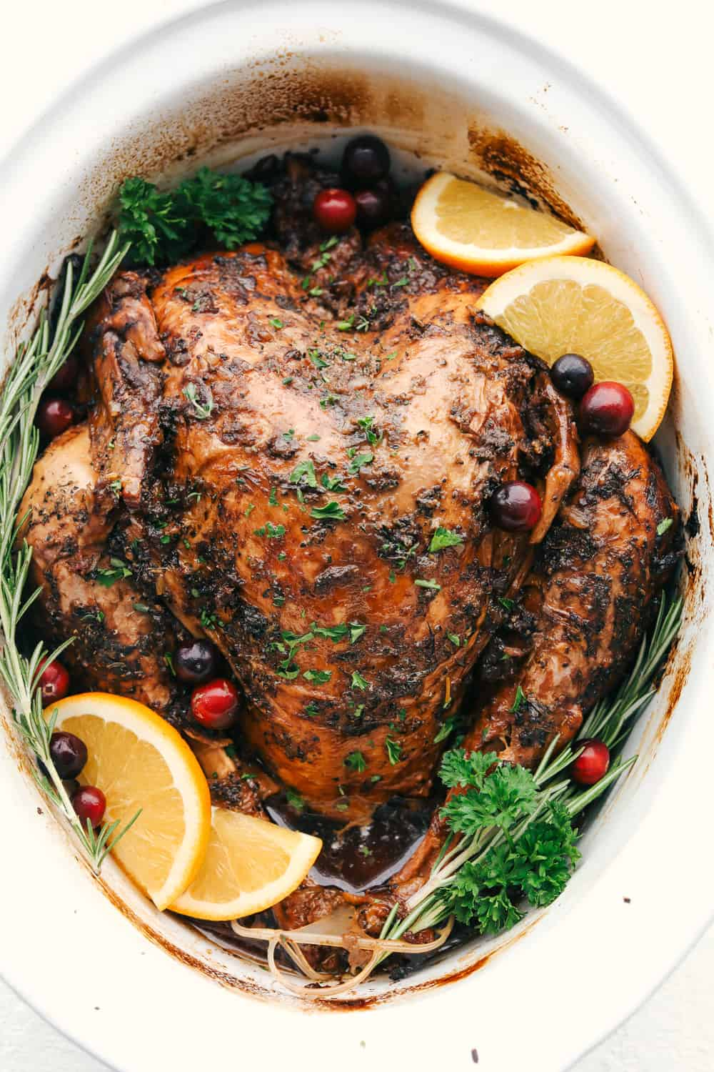 Turkey in a slow cooker.