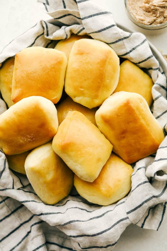 Fluffy soft Copycat Texas Roadhouse Rolls with Cinnamon Honey Butter.