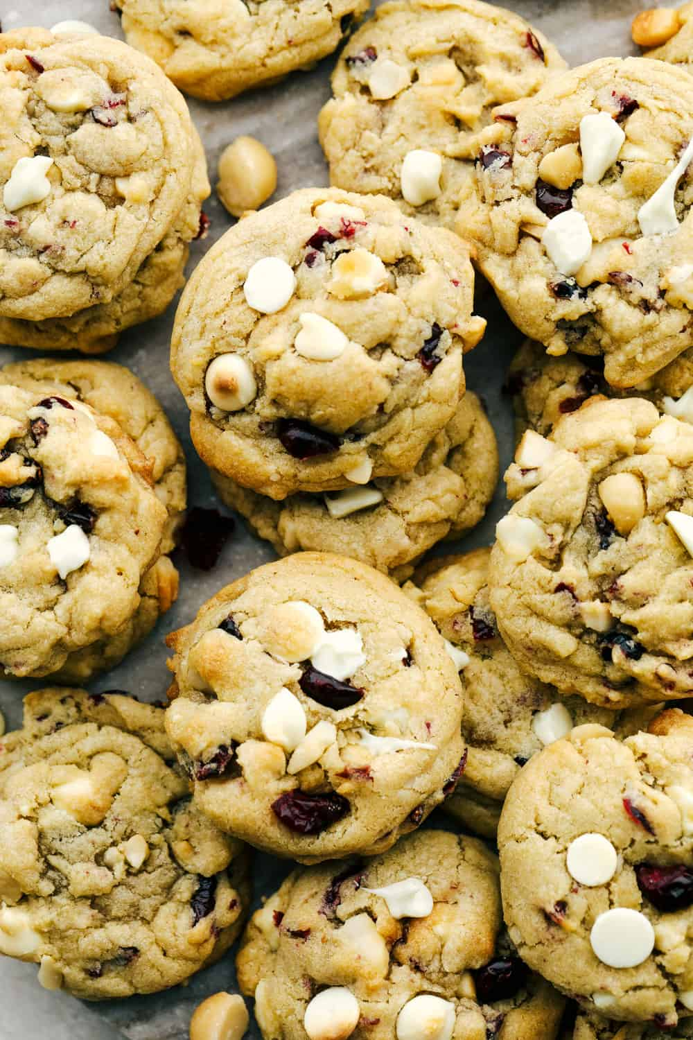Soft, chewy, White Chocolate Cranberry Macadamia Cookies.
