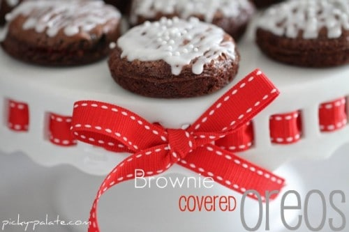 Brownie Covered Oreos - One of the Best Amazing Cookie Recipes for the Holiday Season. The Recipe Critic, Alyssa Rivers, The Amazing Cookie Exchange. Best Holiday Cookie Recipes!
