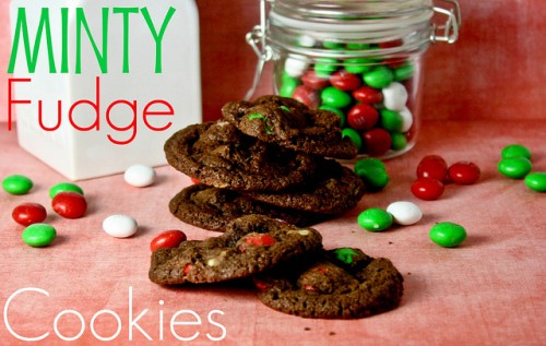 Mint Fudge Cookies with M and Ms all around.