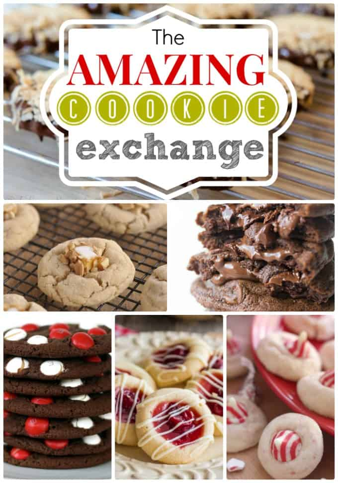 The amazing cookie exchange logo with many different cookies shown.