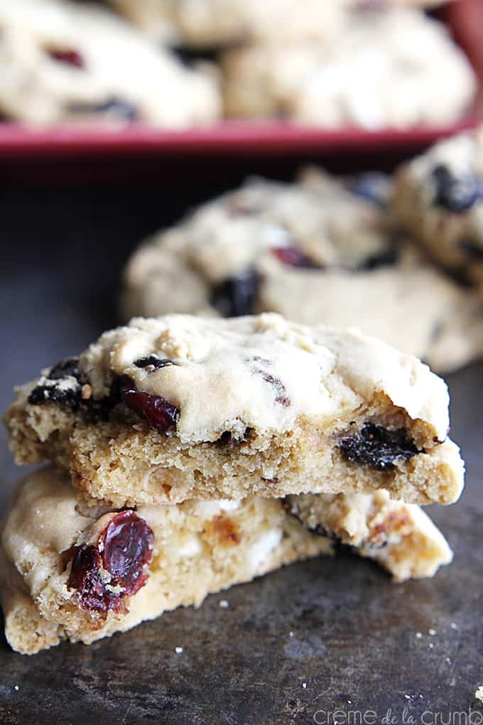 White Chocolate Cherry Cranberry Cookies