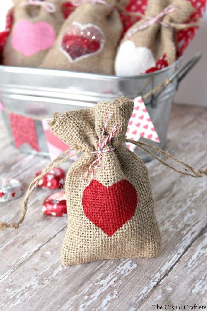 Valentine Burlap Gift Bags