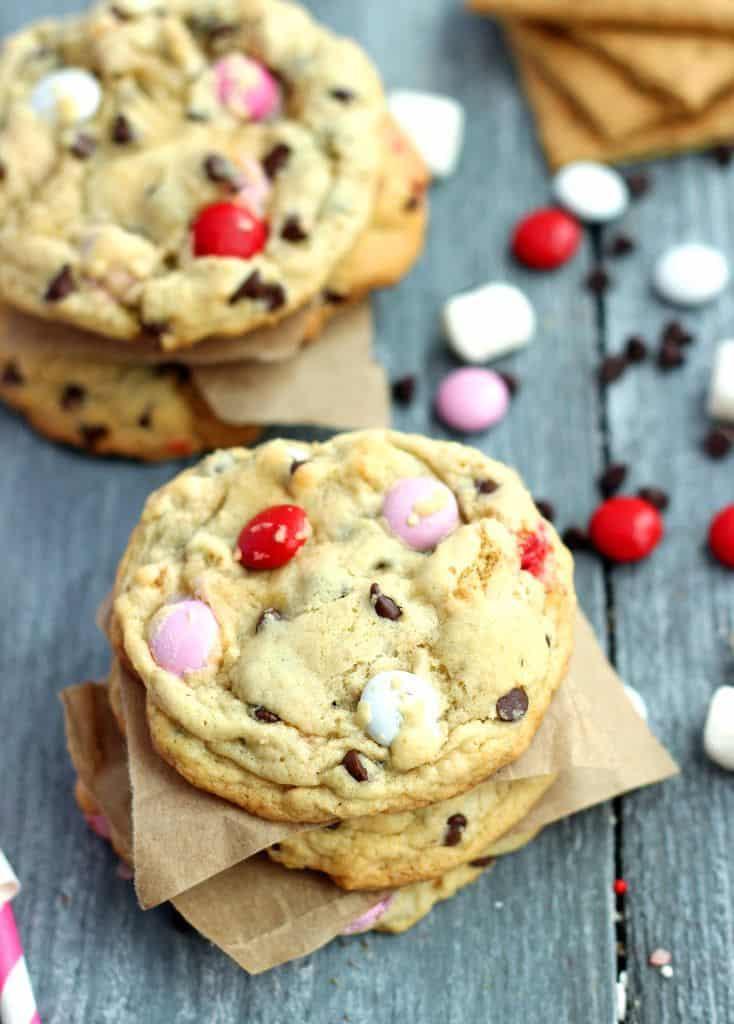 Valentine S'mores M&M Cookies