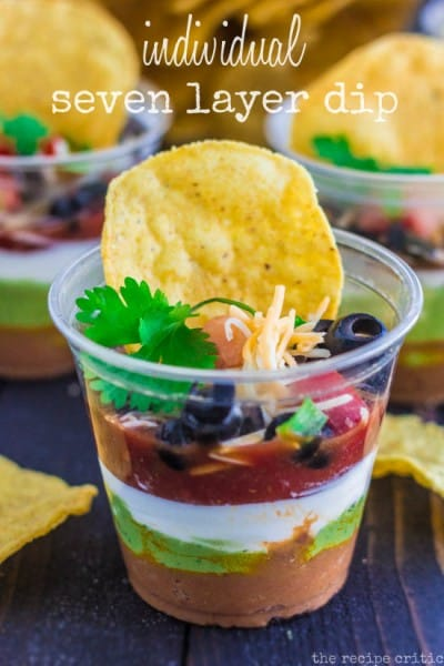 Individual Seven Layer Dip - One of the Best Football Party Snacks and Recipes for the New Season. The Recipe Critic, Alyssa Rivers. Best Game Day Football Snacks, Appetizers & Sweet Treat Recipes!