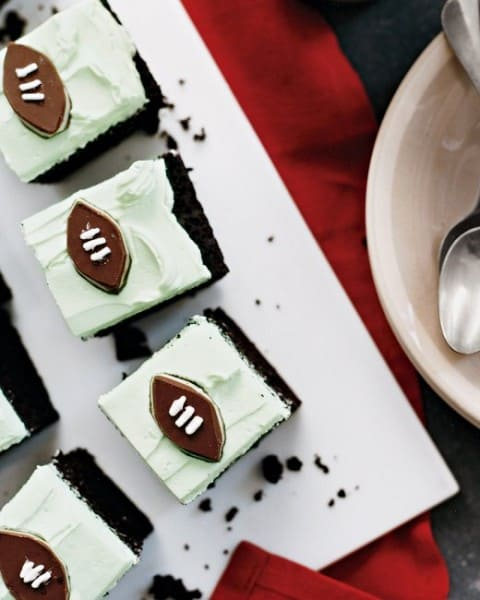 Grasshopper Football Cake - One of the Best Football Party Snacks and Recipes for the New Season. The Recipe Critic, Alyssa Rivers. Best Game Day Football Snacks, Appetizers & Sweet Treat Recipes!