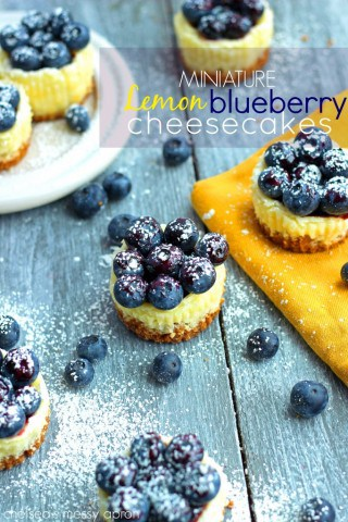 Miniature Lemon Blueberry Cheesecakes